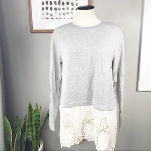 Altar'd State Gray lace hem sweater S